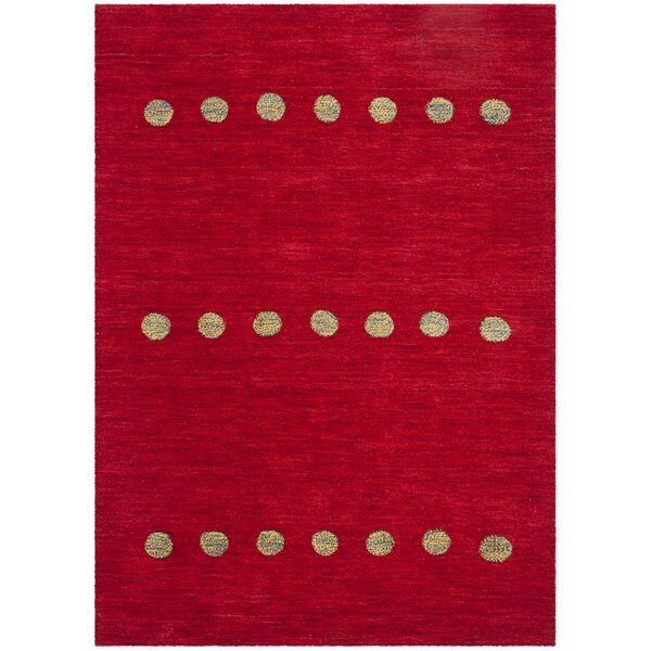 Pixley Hand-Woven Wool Red Area Rug by Wrought Studio