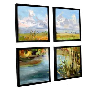 'Afternoon Skies' 4 Piece Framed Painting Set by Rosecliff Heights