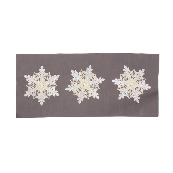 Neymar Sparkling Snowflakes Embroidered Christmas Table Runner by The Holiday Aisle