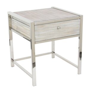 Bartow Stainless Steel Wood End Table by Latitude Run