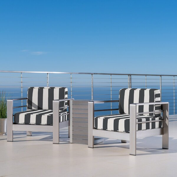 Royalston Outdoor 3 Piece Sunbrella Seating Group with Cushions by Brayden Studio