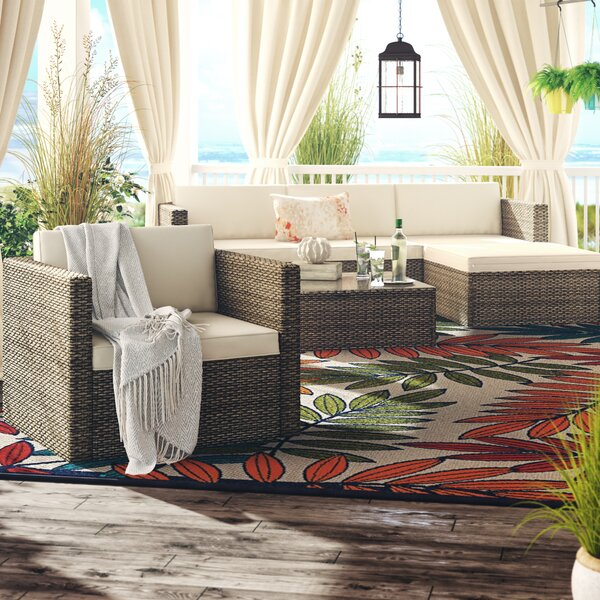 Leonora 6 Piece Rattan Sectional Seating Group with Cushions by Bayou Breeze