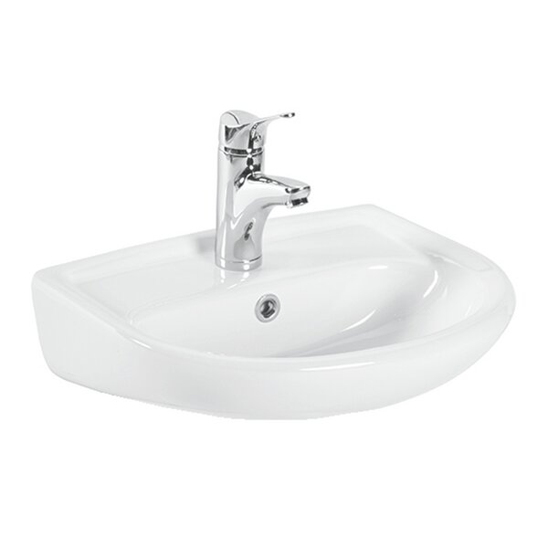 Basic Ceramic 19 Wall Mount Bathroom Sink with Overflow by WS Bath Collections