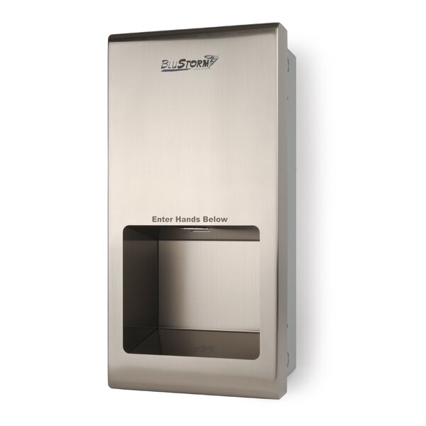 Blustorm2 Recessed High Speed 110/120 Volt Hand Dryer in Brushed Stainless by Palmer Fixture