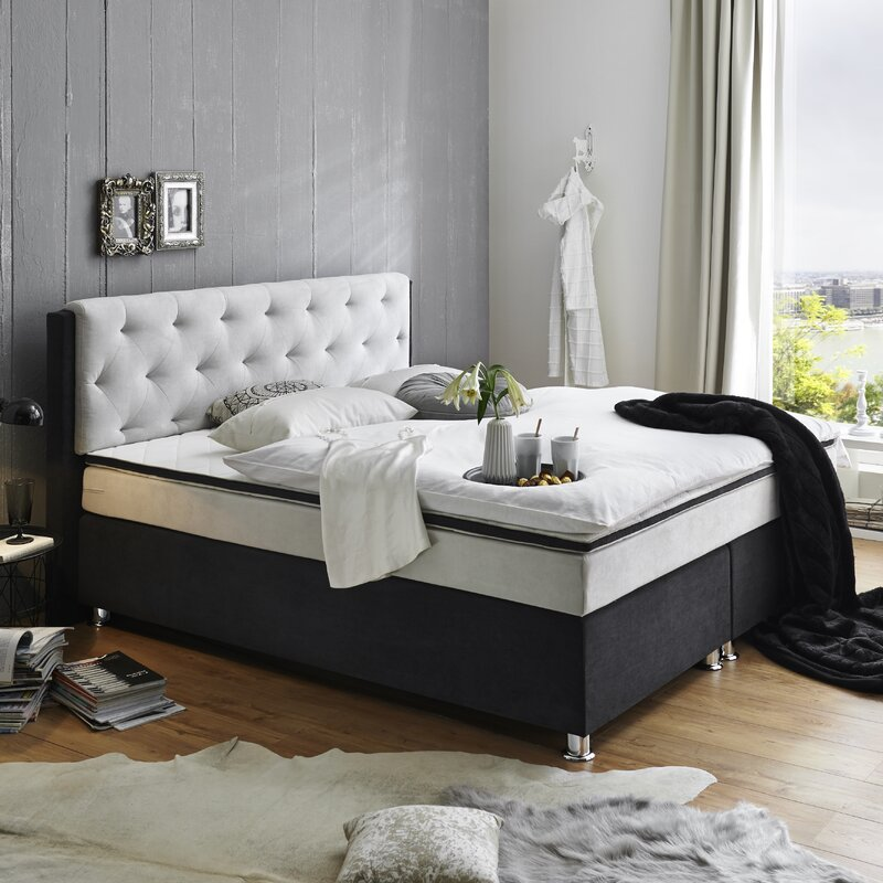 atlantic home collection boxspringbett ron mit topper. Black Bedroom Furniture Sets. Home Design Ideas