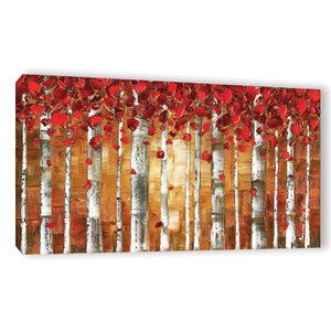 Red Birch Painting Print on Wrapped Canvas by Latitude Run