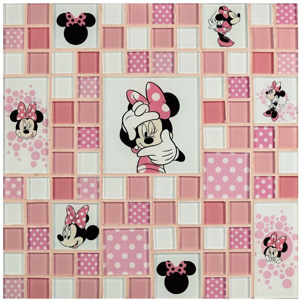 Disney Minnie Random Sized Glass Mosaic Tile in Pink by EliteTile