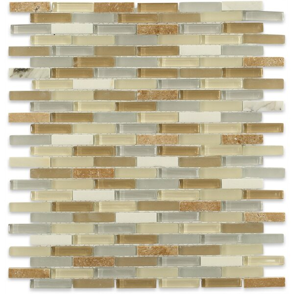 Cleveland 0.5 x 1.5 Glass/Marble Mosaic Tile in Frosted Gray/Tan by Splashback Tile