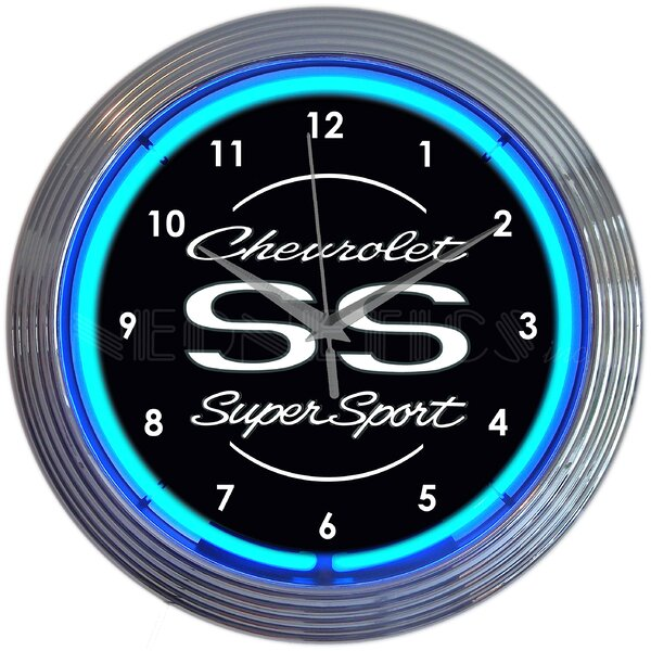 Chevrolet SS Super Sport Neon 15 Wall Clock by Neonetics