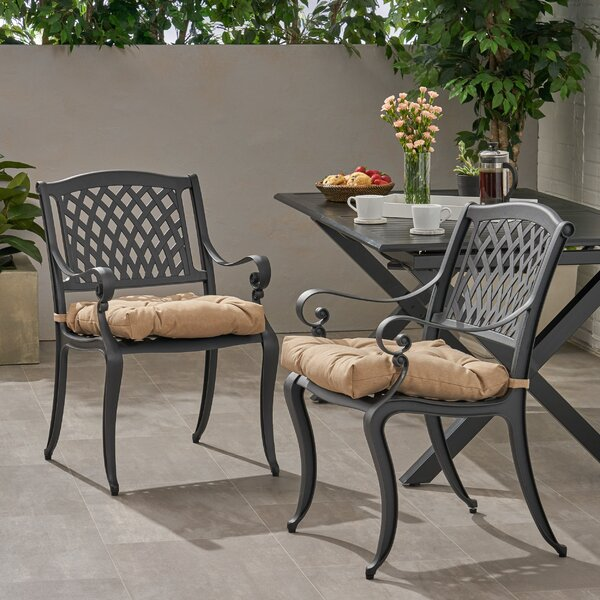 Pirkle Patio Dining Chair with Cushion (Set of 2) by Fleur De Lis Living