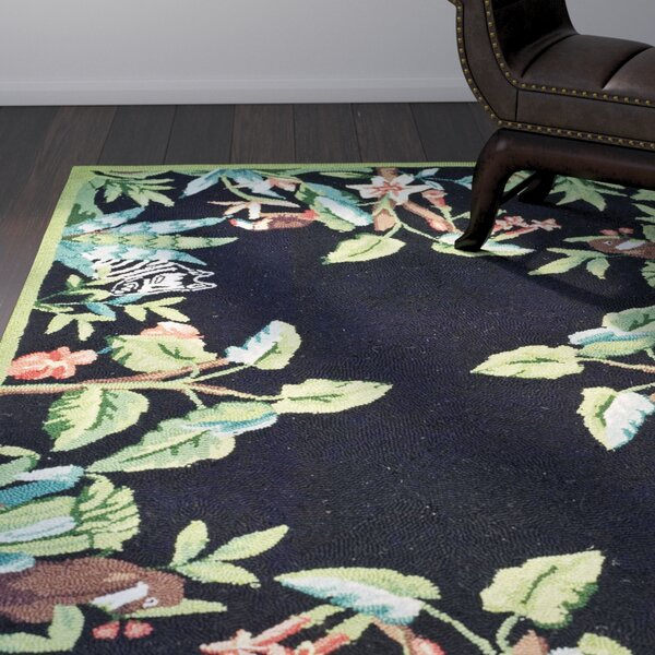 Bridges Black/Green Novelty Area Rug by World Menagerie