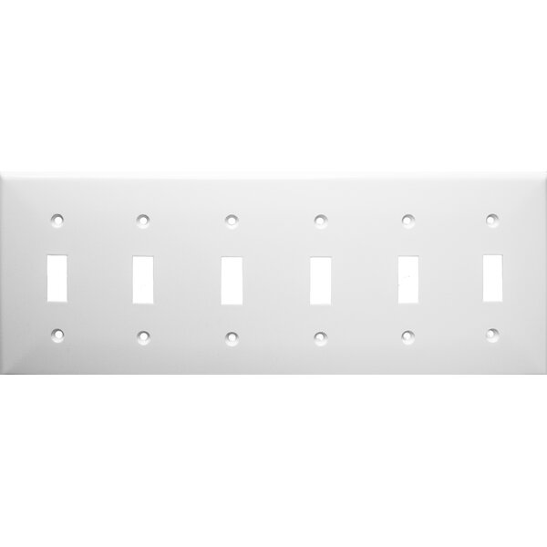 6 Gang Lexan Wall Plates for Toggle Switch in White by Morris Products