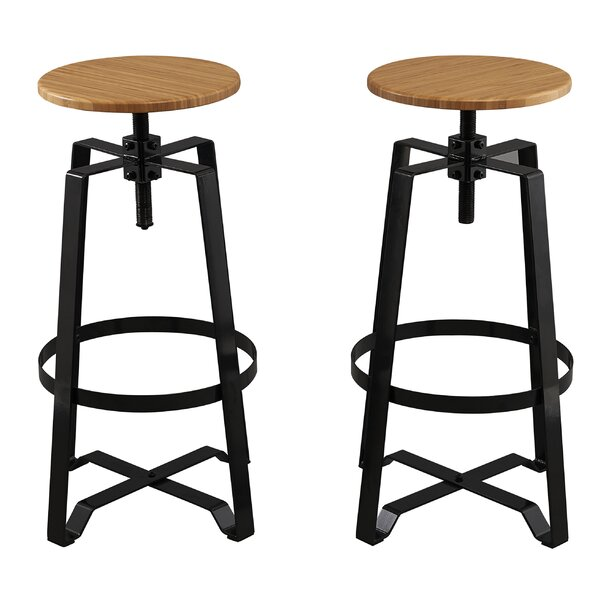 Adjustable Height Swivel Bar stool (Set of 2) by Famis Corp
