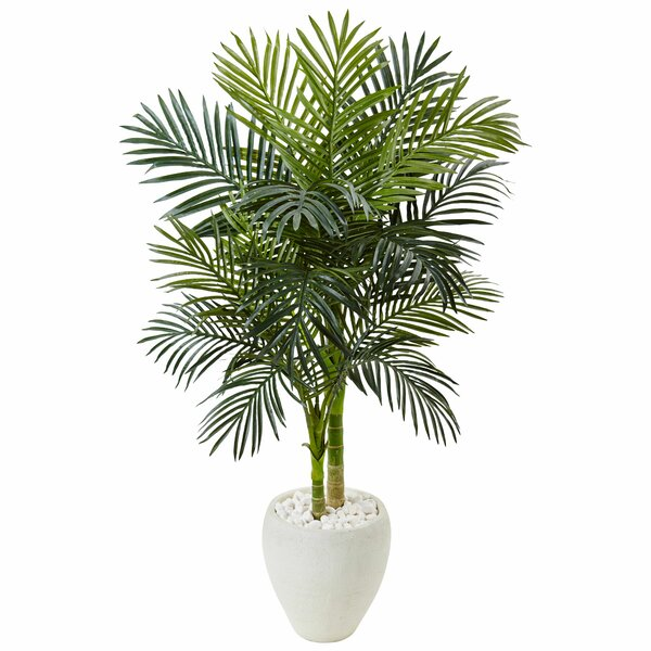 Artificial Golden Cane Floor Palm Tree in Stone Planter by Bayou Breeze