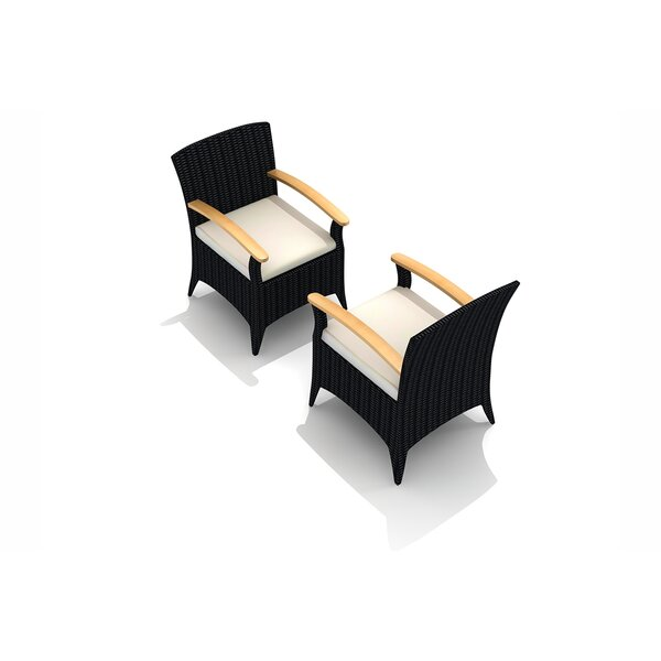 Holbrook Teak Patio Dining Chair with Cushion by Rosecliff Heights