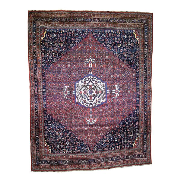 One-of-a-Kind Stepanie Hand-Knotted 1920s Antique Brown/Red/Navy 14'6 x 19' Wool Area Rug