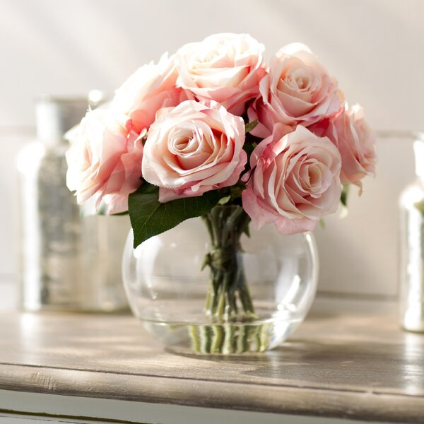 Roses in Glass Vase by Ophelia & Co.
