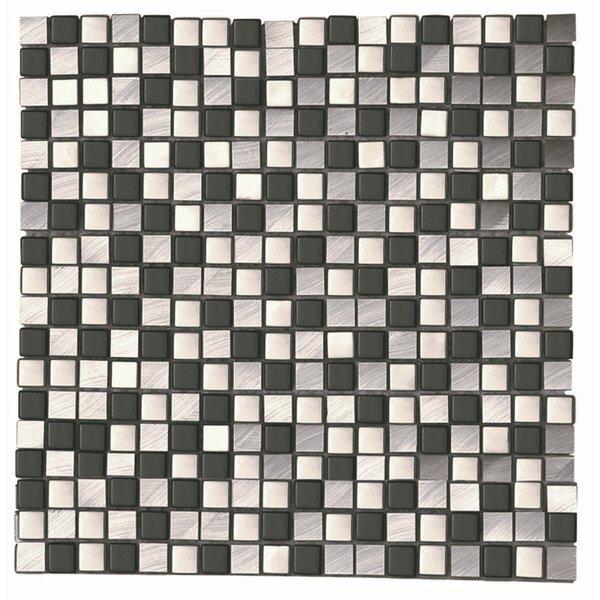 Akira Nero 0.66 x 0.66 Aluminum Mosaic Tile in Black/Gray by Kertiles
