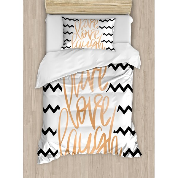 Live Laugh Love Motivational Calligraphic Art with Zigzags Chevron Stripes Duvet Set by Ambesonne