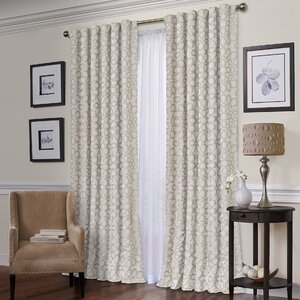 Jessie Geometric Semi-Sheer Thermal Rod Pocket Single Curtain Panel