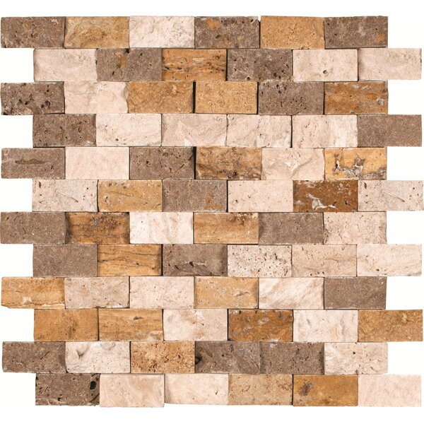 Mixed Mounted 1 x 2 Travertine Splitface Tile in Multi by MSI