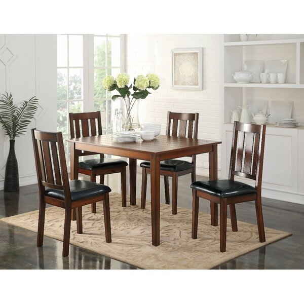 Porcaro 5 Piece Solid Wood Dining Set by Winston Porter