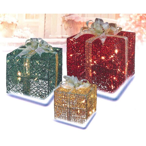 3-Piece Glittery Lighted Display by The Holiday Aisle