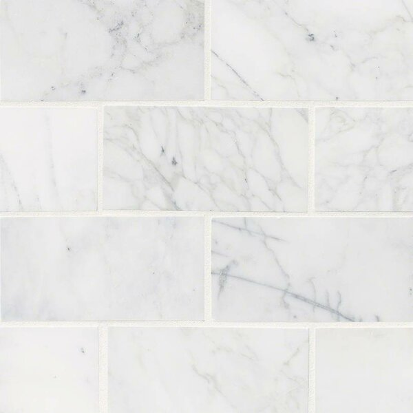 Calacatta Cressa Honed 3 x 6 Marble Subway Tile in White by MSI