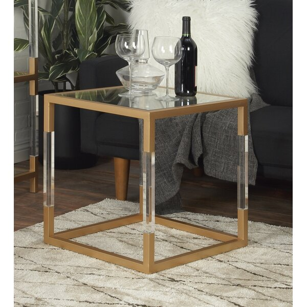 Turrell Metal Glass and Acrylic End Table by Mercer41