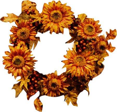 24 Artificial Autumn Harvest Sunflower Berry Wreath by Vickerman