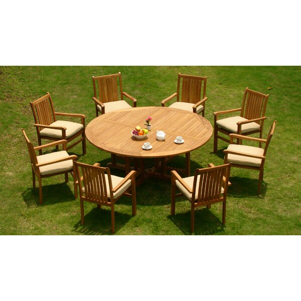 Merrie Luxurious 9 Piece Teak Dining Set by Rosecliff Heights