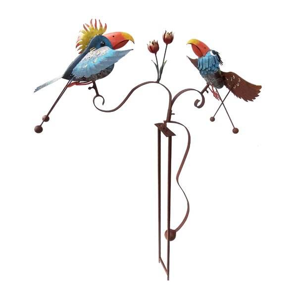 Shery Rustic Metal Double Parrot Balancer Garden Stake by Bloomsbury Market