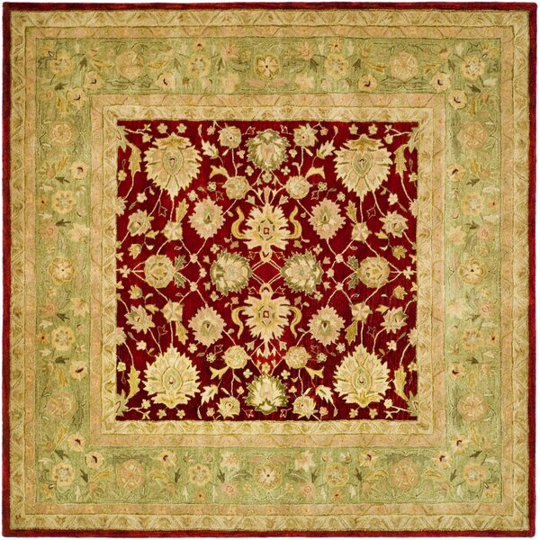 Pritchard Red/Moss Area Rug by Three Posts