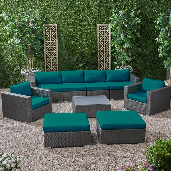 Roxann Outdoor 6 Seater Wicker Modular Sectional Sofa Set with Sunbrella Cushions by Brayden Studio