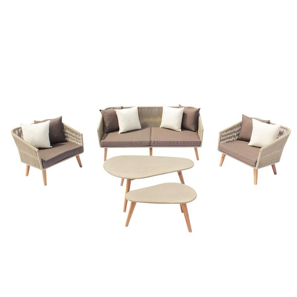 Euben Outdoor 5 Piece Sofa Seating Group with Cushions by Brayden Studio