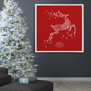 'Holiday Reindeer Red Stencil' Photographic Print on Wrapped Canvas by The Holiday Aisle