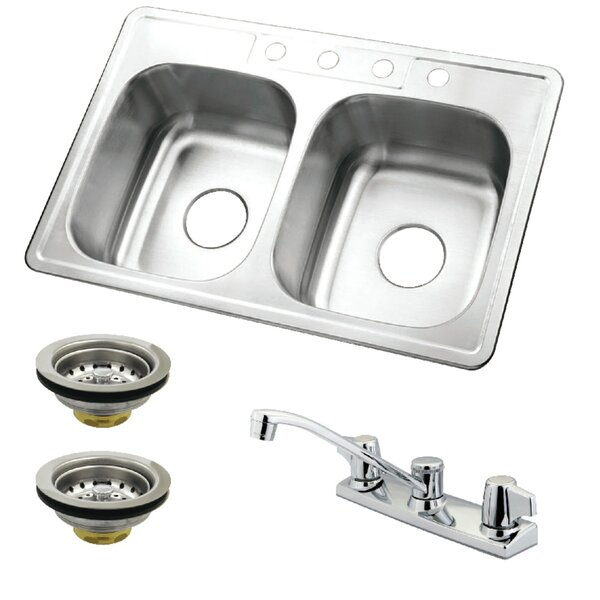 33 L x 22 W Double Basin Undermount Kitchen Sink with Faucet and Strainer by Kingston Brass