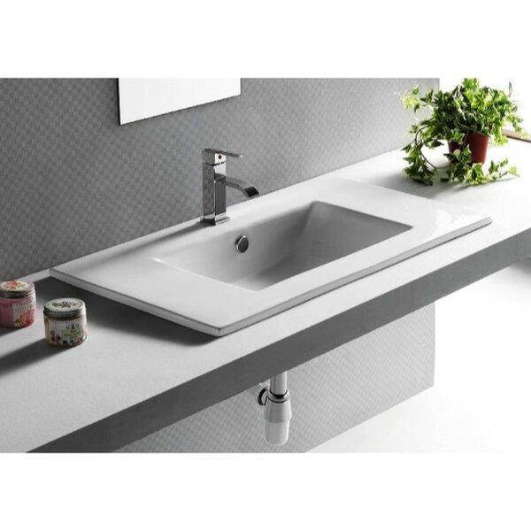 Ceramica Ceramic Rectangular Drop-In Bathroom Sink with Overflow