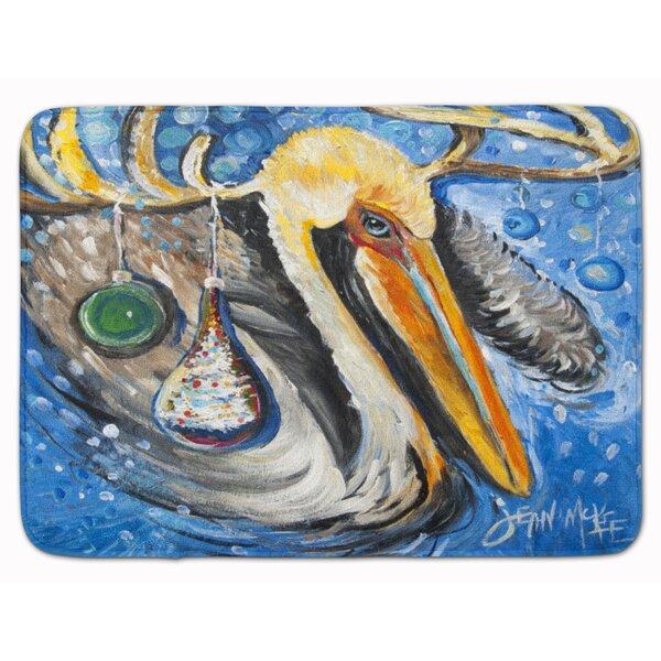Pelican Dressed as a Reindeer Memory Foam Bath Rug