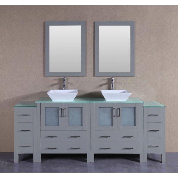 Amelia 84 Double Bathroom Vanity Set with Mirror by Bosconi