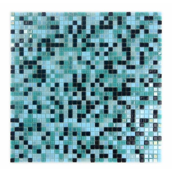 Galaxy Straight 0.31 x 0.31 Glass Mosaic Tile in Turquoise/Black by Abolos