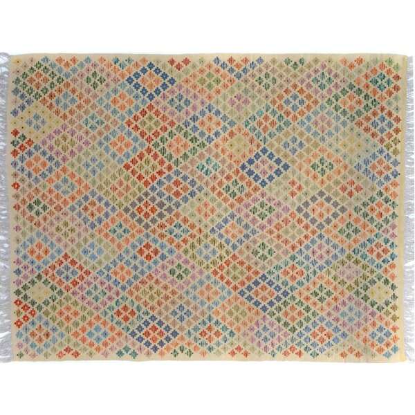 Sinclair Hand-Woven Wool Ivory/Blue Area Rug by Isabelline
