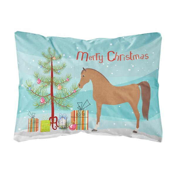Oavia Arabian Horse Christmas Fabric Indoor/Outdoor Throw Pillow by The Holiday Aisle