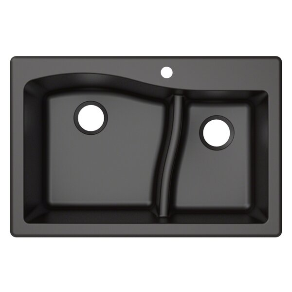"Quarza™ 33"" x 22 Double Basin Undermount Kitchen Sink by Kraus"