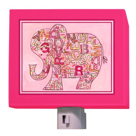 Pink Alphabet Elephant Night Light by Oopsy Daisy