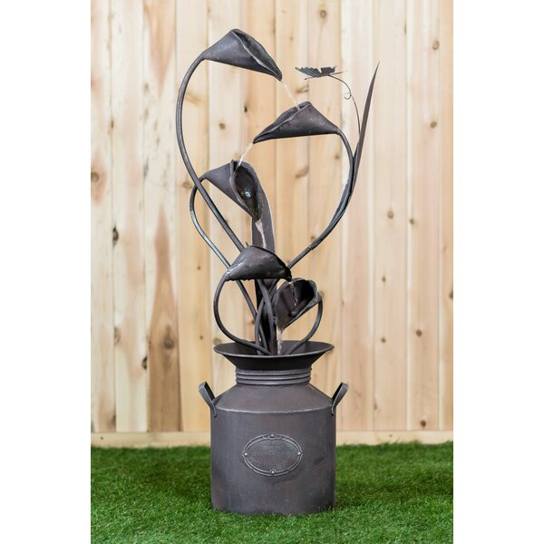 Metal Calla Lilu with Leaves in a Jug Fountain by Hi-Line Gift Ltd.