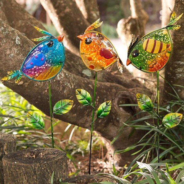 Colorful Bird 3 Piece Garden Stakes Set by Wind & Weather