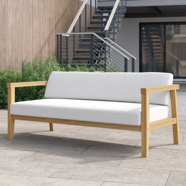 Annalese Outdoor Teak Loveseat with Cushions by Foundstone