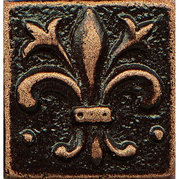 Ambiance Insert Flor De Lis 1 x 1 Resin Tile in Venetian Bronze by Bedrosians