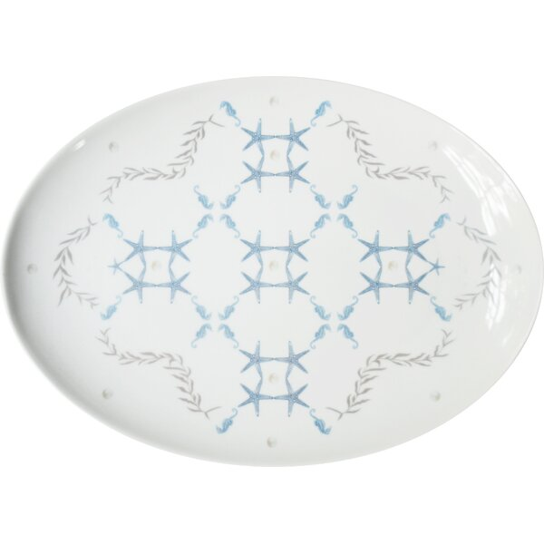 Wicklow Large Porcelain Starlight Coupe Serving Platter by Rosecliff Heights